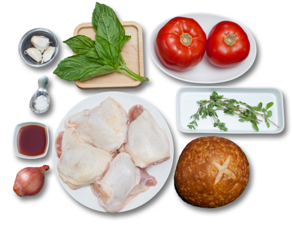 Marjoram-Garlic Chicken with Jersey Tomato Panzanella ingredients